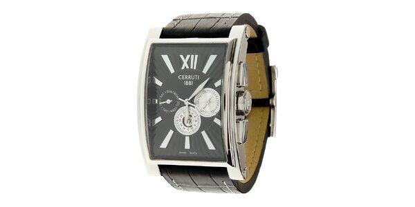Pánské ocelové hodinky Cerruti 1881 s černým koženým řemínkem