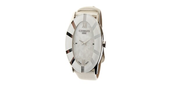 Dámské bílé hodinky Cerruti 1881 s bílým koženým páskem