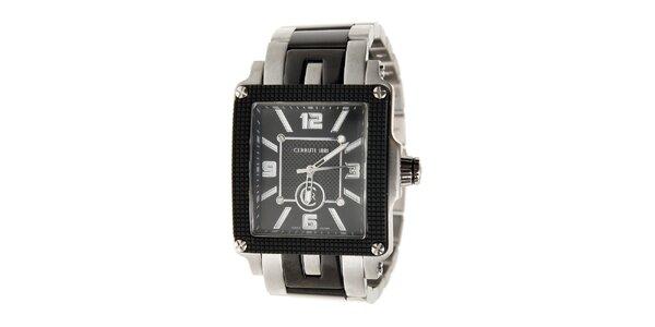 Pánské černo-stříbrné hodinky Cerruti 1881