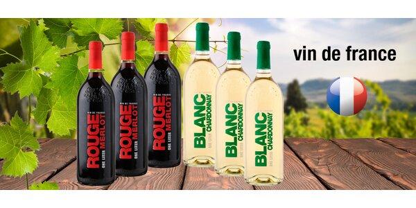 6 lahví červeného a bílého vína Vin de France