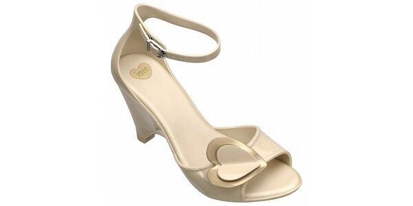 Béžové boty na podpatku Mel