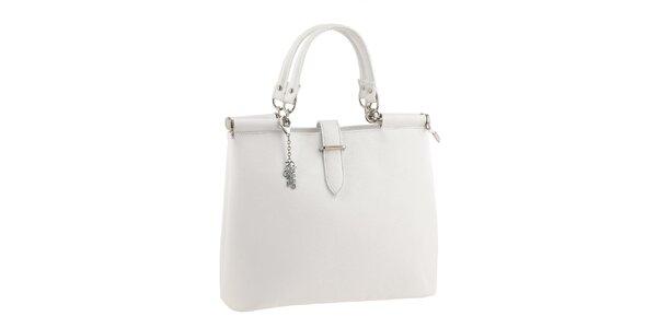 Dámská jednoduchá bílá kabelka s přívěskem Classe Regina