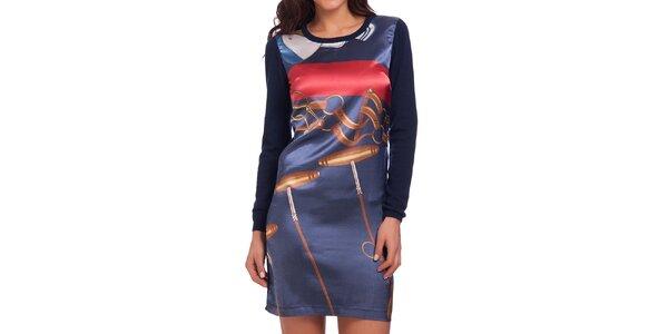 Dámské tmavě modré šaty s barevným potiskem na přední straně Galvanni