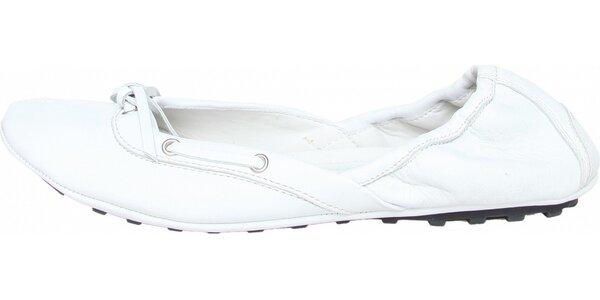 5460330f63 Elastické dámské bílé kožené baleríny Fratelli Rossetti