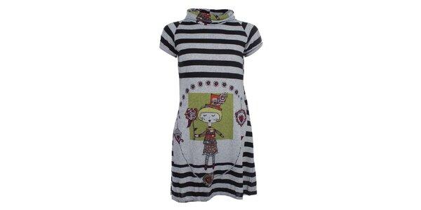 Dámské pruhované šaty s dívkou Purple Jam