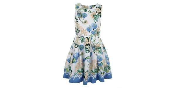 Dámské bílé šaty s barevným květinovým potiskem Yumi