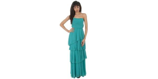 Dámské dlouhé tyrkysové šaty Paola Pitti s volány