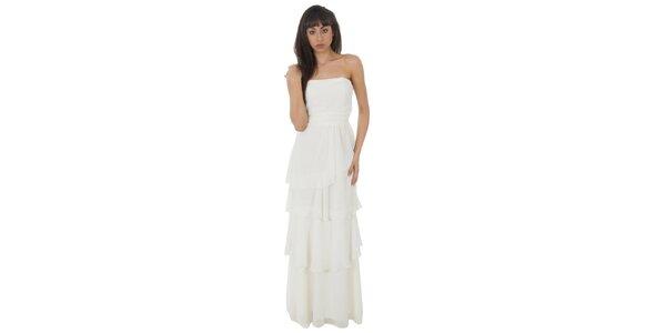 Dámské dlouhé bílé šaty Paola Pitti s volány
