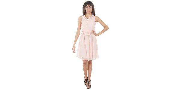 Dámské bledě růžové šaty s americkými průramky Paola Pitti