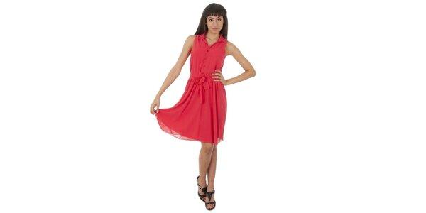 Dámské lososové šaty s americkými průramky Paola Pitti