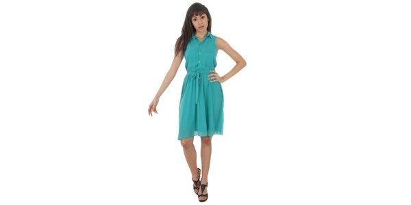 Dámské bledě tyrkysové šaty s americkými průramky Paola Pitti