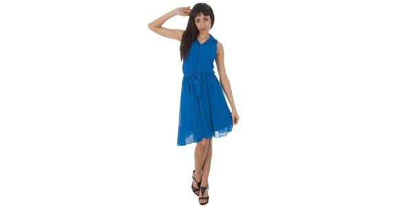 Dámské akvamarínové šaty s americkými průramky Paola Pitti