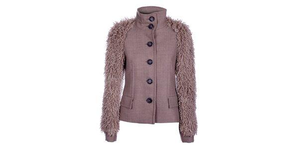 Dámský béžový kabátek Pietro Filipi s chlupatými rukávy
