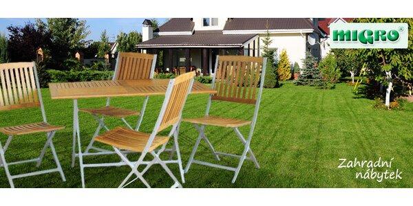 Zahradní stůl a 4 židle z masivu a odolného hliníku