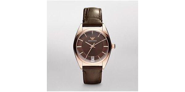 Hnědé dámské retro hodinky Emporio Armani