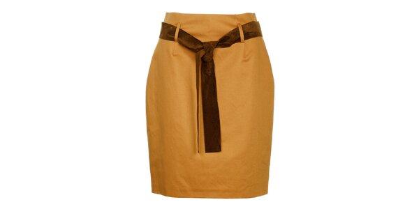 Dámská béžová pouzdrová sukně Pietro Filipi s koženým páskem