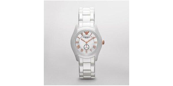 Dámské hodinky Emporio Armani z bílé keramiky s detaily z růžového zlata