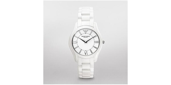 Klasické dámské hodinky Emporio Armani z bílé keramiky