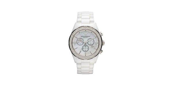 Dámské hodinky Emporio Armani z bílé keramiky dvojitě zdobené krystaly Swarovski