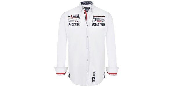 Pánská bílá košile s námořnickou tematikou Giorgio di Mare