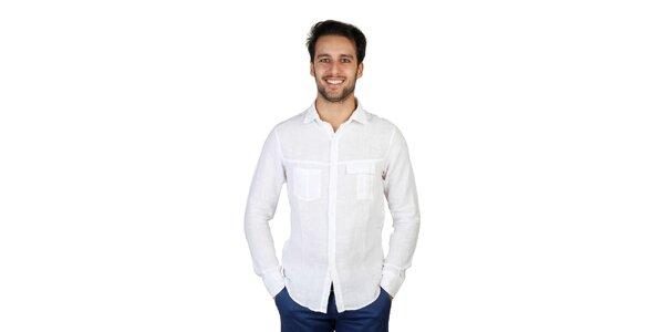 Pánská bílá lněná košile s dlouhými rukávy Bonavita