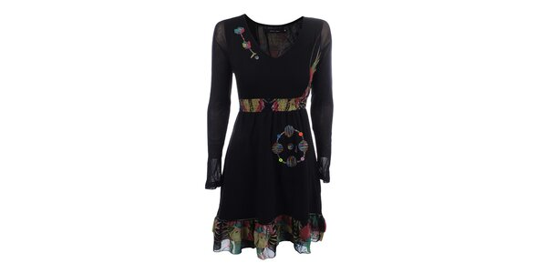 Dámské černé šaty s volánkem a barevnými výšivkami Dislay DY