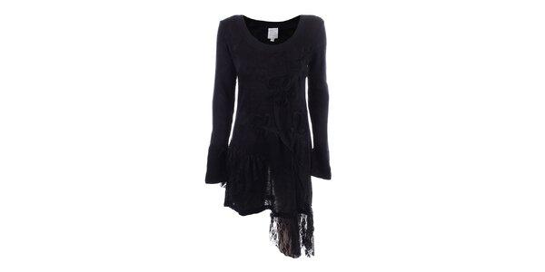 Dámské černé asymetrické šaty s krajkou Dislay DY Design