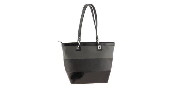 Dámská šedo-černě pruhovaná kabelka Classe Regina