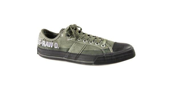 Pánské zelené textilní tenisky G-Star Raw s černou gumou