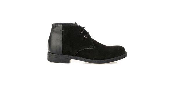 Pánské černé boty s lesklou patou Crash Shoes