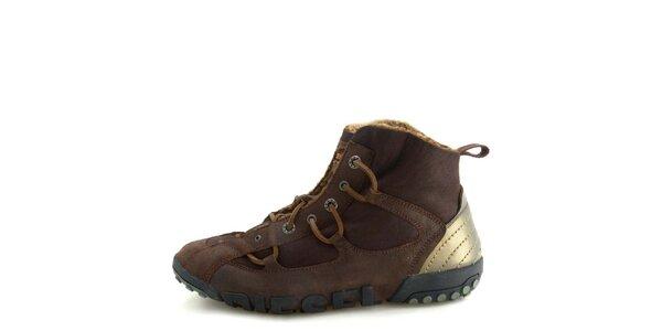 Pánské kožené hnědé kotníkové boty s kožíškem Diesel