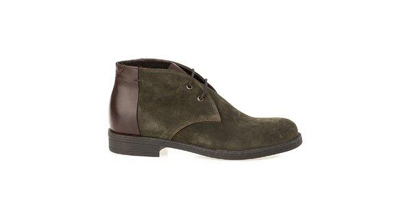 Pánské olivové boty s lesklou patou Crash Shoes