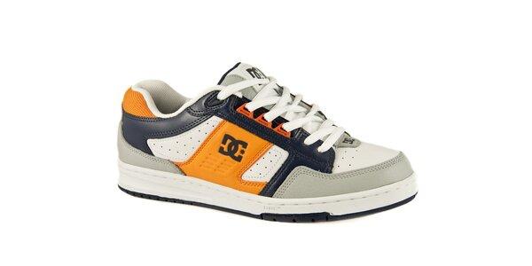Bílé kožené tenisky DC s modrými a oranžovými detaily