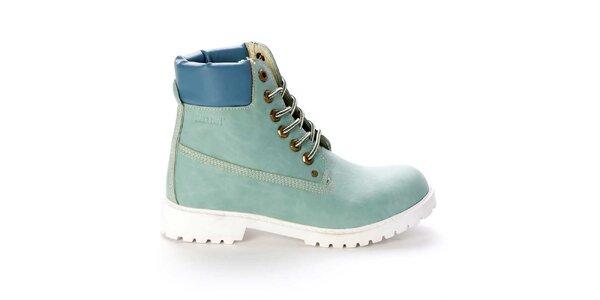 Dámské šněrovací kotníkové boty ve světle modré barvě Destroy