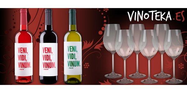 6 křišťálových sklenic a 3 láhve španělského vína