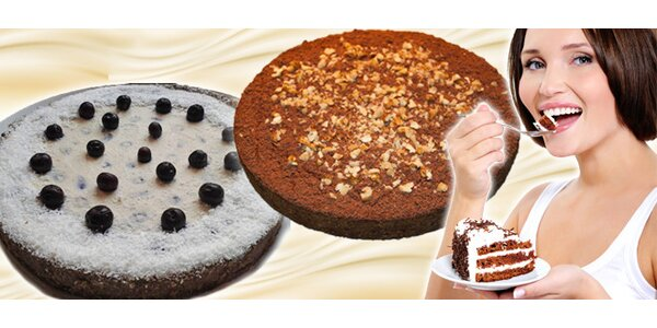 Raw Cake - zdravý dort (čokoládový, borůvkový nebo fíkový)