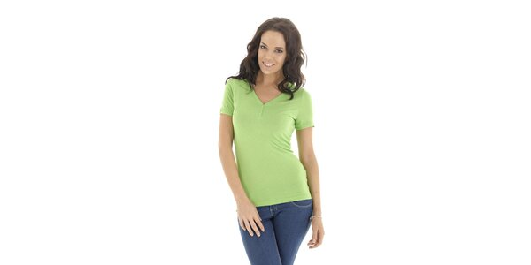Dámské zelené triko s krátkým rukávem Peace&Love