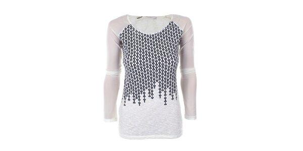 Dámské bílé tričko s černým vzorem Angels Never Die