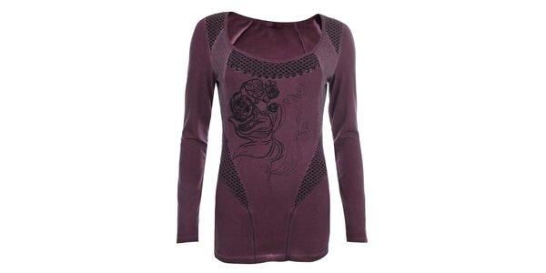 Dámské fialové tričko s perforací Angels Never Die