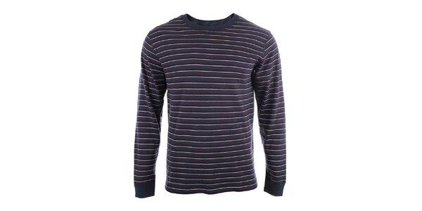 Pánské bavlněné triko s dlouhým rukávem a s barevnými proužky Big Star