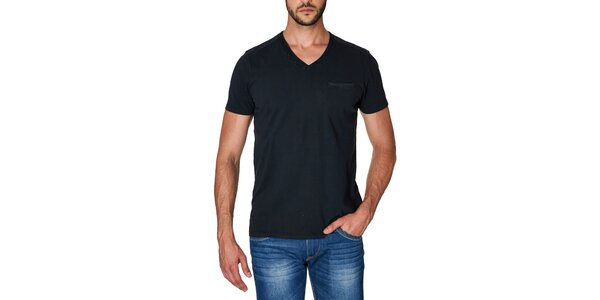 Pánské černé tričko s véčkovým výstřihem Paul Stragas