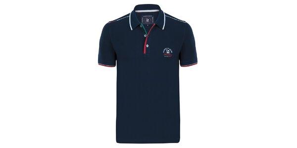 Pánské tmavě modré polo tričko s proužkem na límečku Giorgio Di Mare