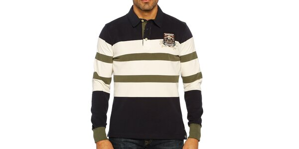 Pánské tříbarevně pruhované polo triko s dlouhým rukávem Galvanni