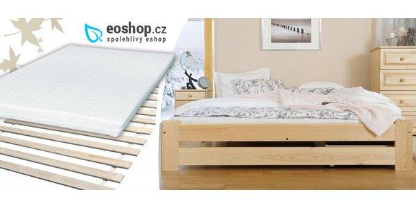 Masivní postele z přírodní borovice s roštem zdarma