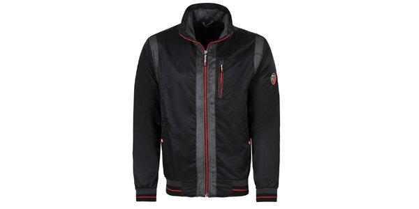 Pánská černá bunda s červenými zipy Giorgio Di Mare
