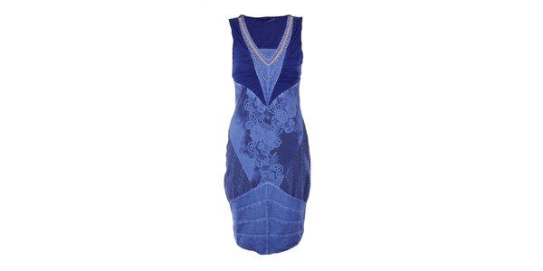 Dámské modré šaty s výstřihem Angels Never Die