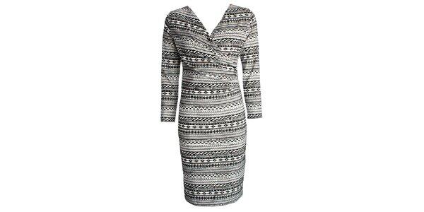 Dámské černo-bíle vzorované šaty CeMe London