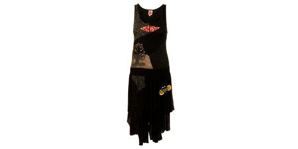 Dámské černé šaty Dislay DY Design s potiskem a výšivkou