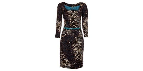 Dámské hnědo-béžové tygrované šaty Pietro Filipi