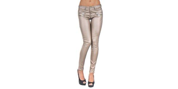 Dámské béžové lesklé kalhoty se zipy Giorgio Di Mare